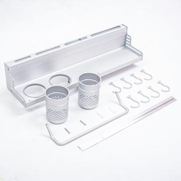 SENYANG Multifunktions Küche Rack Organizer Regale , Wand hängende Aluminium Küche Rack von Wand Regal, gehören Gewürz Flasche Rack, Utensilien und andere Küche Gadgets (Silber) -