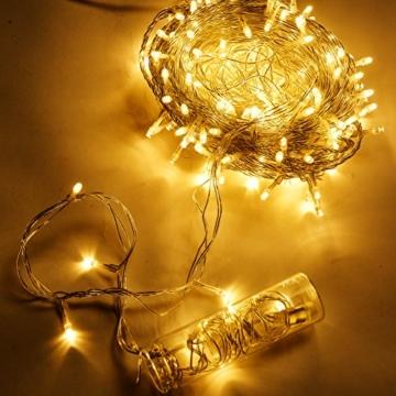 Uping® Lichterkette 100 Leds mit EU-Stecker von DC 31V Niederspannungstransformator und 8 Programm für Party, Garten, Weihnachten, Halloween, Hochzeit, Beleuchtung Deko 12M warmweiß -