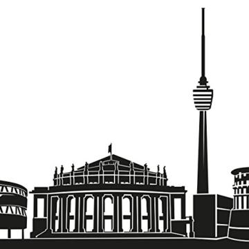 Wandkings Skyline Wandaufkleber Wandtattoo - 125 x 30 cm in schwarz - Deine Stadt wählbar - Stuttgart -