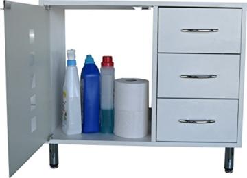Waschbeckenunterschrank | Waschtischunterschrank | Badschrank | Bad Möbel | Holz | stehend | mit Schubladen | mit Füßen | Madison | weiß -
