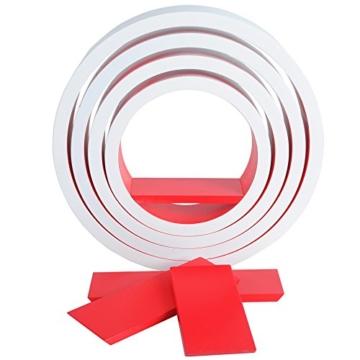 WOLTU RG9231rt Wandregal Schweberegale, 4er Set Oval Lounge Cube Regal, Retro Bücherregal, MDF Holz, DIY zum Hängen, Weiß-koralle rot -