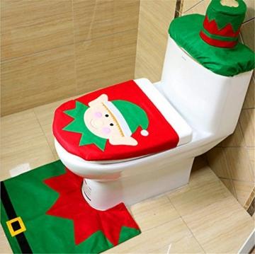 Delmkin Weihnachtsdeko Weihnachten WC Toillete Dekoration Weihnachtsmann Toilettenvorleger-Set (Weihnachtself) -