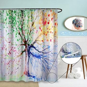 Duschvorhang anti schimmel, ZSZT 3D-Druck Wasser-Tinte Bunte Baum, Badezimmer Dekoration ( 180 x 180 cm ) Geschenk Duschhaube -