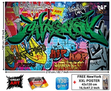 Fototapete Graffitti Wand-dekoration - Wandbild Street Art Poster-Motiv by GREAT ART (210 x 140 cm) -
