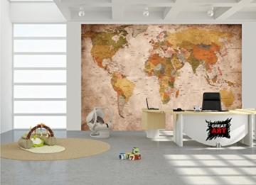 Fototapete used look Wandbild Dekoration Globus Kontinente Atlas Weltkarte retro old school vintage map Weltkugel Geografie I Foto-Tapete Wandtapete Fotoposter Wanddeko by GREAT ART (336 x 238 cm) -