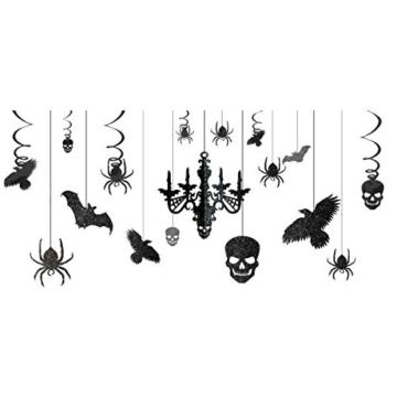 Halloween Deckenhänger-Set Schwarz-Glitzer 17-tlg. -