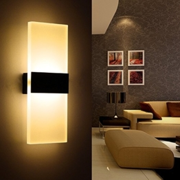 ONCCI 12W LED Wandlampe Wandleuchte Wand Flur Design Lampe Acrylics Warmweiss CE (Schwarz) -