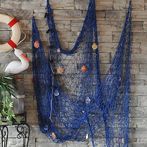 secowel deko fischernetz maritime dekoration fotografie prop mit farbigen muscheln blau 150 x. Black Bedroom Furniture Sets. Home Design Ideas