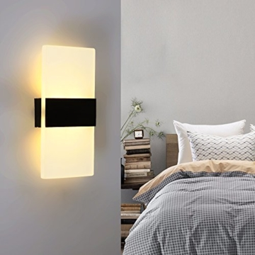 Splink LED Wandleuchte Modern Flurlampe Acryl Aluminum Wandlampe für Innen Schlafzimmer, Wohnzimmer, Treppenhaus(3W, Warmweiß) -