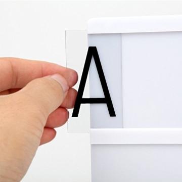 Cinema Lightbox inkl. 104 Schwarz Buchstaben & Zeichen frei gestaltbar-A4 große Box aufhängen oder stellen-Leuchtkasten Kino Stil LED(USB oder batteriebetriebene) - 5