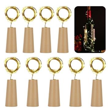 Flaschenlampe(9 Stück zusammen) mit Schraubendreher von iado, 20 leds Flaschenlicht mit warmweiß licht, Lichterketten als Deko für Party, Garten, Schlafzimmer, Weihnachten, Halloween und Hochzeit - 2