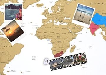 havalime® Premium XXL Rubbel Weltkarte - Scratch World Map - Limited Edition - Geschenkidee für Reisende - 82x59 cm - (Weiß) - 3