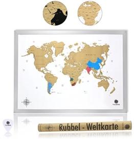 havalime® Premium XXL Rubbel Weltkarte - Scratch World Map - Limited Edition - Geschenkidee für Reisende - 82x59 cm - (Weiß) - 1