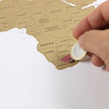 havalime® Premium XXL Rubbel Weltkarte - Scratch World Map - Limited Edition - Geschenkidee für Reisende - 82x59 cm - (Weiß) - 4