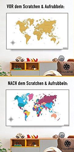 havalime® Premium XXL Rubbel Weltkarte - Scratch World Map - Limited Edition - Geschenkidee für Reisende - 82x59 cm - (Weiß) - 5
