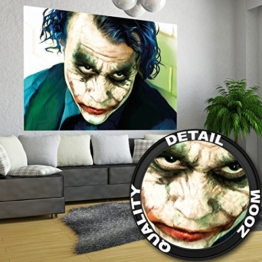 Poster Joker Wandbild Dekoration Heath Ledger Batman The Dark Knight Clowns Film Gotham Bösewicht DC Comic DC Universe | Wandposter Fotoposter Wanddeko Bild Wandgestaltung by GREAT ART (140 x 100 cm) - 1