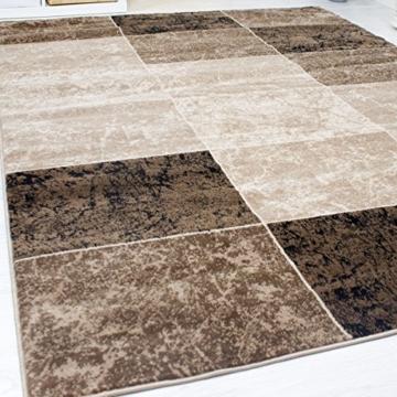 Teppich Wohnzimmer Kurzflor Modern Meliert Kariert Marmor Muster Braun Beige, VIMODA, 80x150 cm - 3