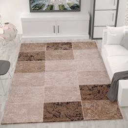 Teppich Wohnzimmer Kurzflor Modern Meliert Kariert Marmor Muster Braun Beige, VIMODA, 80x150 cm - 1
