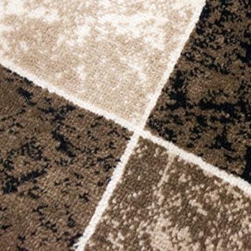 Teppich Wohnzimmer Kurzflor Modern Meliert Kariert Marmor Muster Braun Beige, VIMODA, 80x150 cm - 5