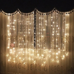 TOFU Lichtervorhang Sterne, Led Lichterkette fenster mit EU-Stecker, warmweiße Weihnachtsdeko für Vorhang, Weihnachten, Halloween, Hochzeit, Clubs, Kinderzimmer, zu Hause, Deko Party Innen/Außen - 1