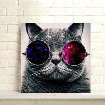 UNIQUEBELLA 50 x 50 CM LEINWAND BILDER FERTIG AUFGESPANNT handgemalte Bilder Ölgemälde Leinwand Cool Katze Landschaft Gemälde Wohnkultur Dekor - 3