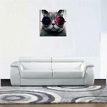 UNIQUEBELLA 50 x 50 CM LEINWAND BILDER FERTIG AUFGESPANNT handgemalte Bilder Ölgemälde Leinwand Cool Katze Landschaft Gemälde Wohnkultur Dekor - 4