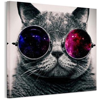 UNIQUEBELLA 50 x 50 CM LEINWAND BILDER FERTIG AUFGESPANNT handgemalte Bilder Ölgemälde Leinwand Cool Katze Landschaft Gemälde Wohnkultur Dekor - 1