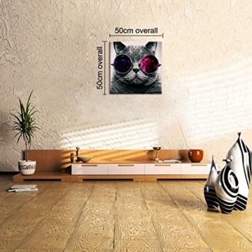 UNIQUEBELLA 50 x 50 CM LEINWAND BILDER FERTIG AUFGESPANNT handgemalte Bilder Ölgemälde Leinwand Cool Katze Landschaft Gemälde Wohnkultur Dekor - 5