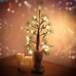 Weihnachtsbaum Baum Lichter 60cm Lichterbaum mit Schnee 24 Warmweiß LED Batteriebetrieben Tannenbaum Dekobaum Weihnachtsbeleuchtung für Garten Weinachten Party Wohnzimmer Haus Dekoration - 1