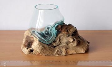 Geschenk Deko Gamal Wurzelholz Glasvase Ø Glas 10 cm Wurzel Holz Teakholz Vase Glas XS - 2