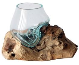 Geschenk Deko Gamal Wurzelholz Glasvase Ø Glas 10 cm Wurzel Holz Teakholz Vase Glas XS - 1