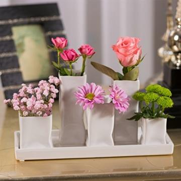 Home&Decorations Keramikvasenset Blumenvase Keramikvasen weiß Vase Blumen Pflanzen Keramik Set Deko Dekoration (1 Set je 5 Vasen, weiß) - 3