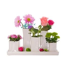 Home&Decorations Keramikvasenset Blumenvase Keramikvasen weiß Vase Blumen Pflanzen Keramik Set Deko Dekoration (1 Set je 5 Vasen, weiß) - 1