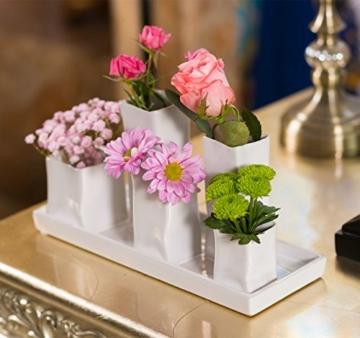 Home&Decorations Keramikvasenset Blumenvase Keramikvasen weiß Vase Blumen Pflanzen Keramik Set Deko Dekoration (1 Set je 5 Vasen, weiß) - 4