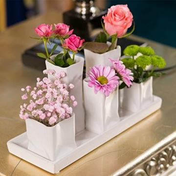 Home&Decorations Keramikvasenset Blumenvase Keramikvasen weiß Vase Blumen Pflanzen Keramik Set Deko Dekoration (1 Set je 5 Vasen, weiß) - 5