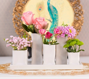 Home&Decorations Keramikvasenset Blumenvase Keramikvasen weiß Vase Blumen Pflanzen Keramik Set Deko Dekoration (1 Set je 5 Vasen, weiß) - 6