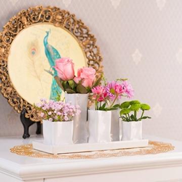 Home&Decorations Keramikvasenset Blumenvase Keramikvasen weiß Vase Blumen Pflanzen Keramik Set Deko Dekoration (1 Set je 5 Vasen, weiß) - 7