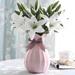 Künstliche Blumen Weiße Lilie,GKONGU 4 Stück Realistisch Blumensträuße Natürliche Lilie mit 3 Blütenknospen Ideal für Hochzeit Sträuße Vase Dekoration -Weiß - 1