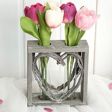 Reagenzglas-Vase im Holzständer 15 cm Herz Shabby Röhrchenduo - 1