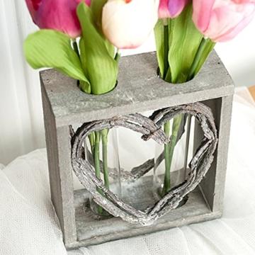 Reagenzglas-Vase im Holzständer 15 cm Herz Shabby Röhrchenduo - 2