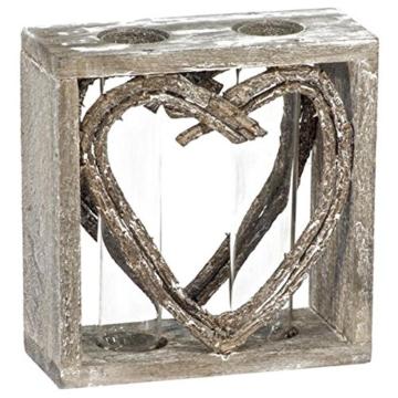 Reagenzglas-Vase im Holzständer 15 cm Herz Shabby Röhrchenduo - 3