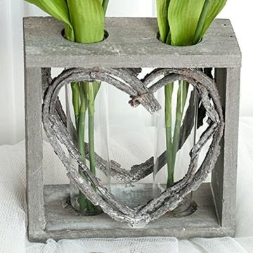 Reagenzglas-Vase im Holzständer 15 cm Herz Shabby Röhrchenduo - 4