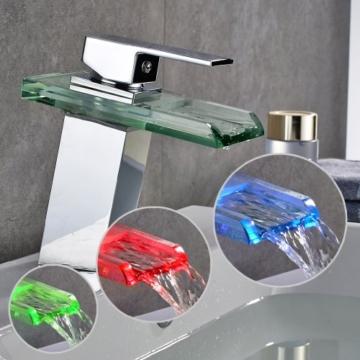 Auralum Glas Wasserhahn Waschbecken Armatur Waschtischarmatur LED RGB Licht und Modell Wählbar (Type B, mit LED RGB Licht) - 2