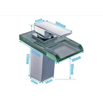 Auralum Glas Wasserhahn Waschbecken Armatur Waschtischarmatur LED RGB Licht und Modell Wählbar (Type B, mit LED RGB Licht) - 3