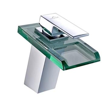 Auralum Glas Wasserhahn Waschbecken Armatur Waschtischarmatur LED RGB Licht und Modell Wählbar (Type B, mit LED RGB Licht) - 1