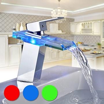 Auralum Glas Wasserhahn Waschbecken Armatur Waschtischarmatur LED RGB Licht und Modell Wählbar (Type B, mit LED RGB Licht) - 8