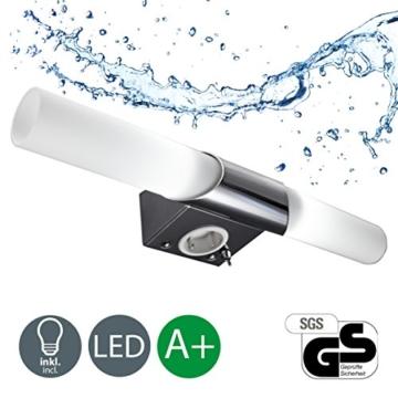 B.K. Licht BKL1021 LED Spiegelleuchte, Chrom, 5 W, Ø 75 mm, 2 Leuchtmittel - 1