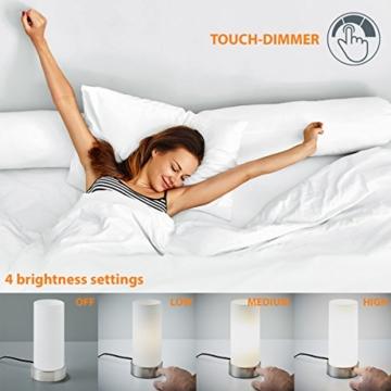 B.K.Licht Tischleuchte | Nachttisch-Leuchte für Schlafzimmer | Berührungssensor | Touchfunktion | IP20 - 7