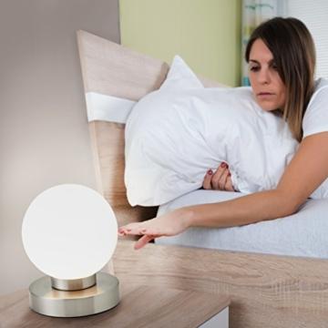 B.K.Licht Tischleuchte | Tischleuchte | Nachttisch-Leuchte für Schlafzimmer | Berührungssensor |Touchfunktion | IP20 - 3