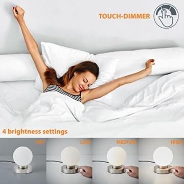 B.K.Licht Tischleuchte | Tischleuchte | Nachttisch-Leuchte für Schlafzimmer | Berührungssensor |Touchfunktion | IP20 - 7